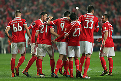 February 3, 2018 - Lisbon, Portugal - Benfica's Portuguese defender Ruben Dias celebrates with teammates after scoring during the Portuguese League football match SL Benfica vs Rio Ave FC at the Luz stadium in Lisbon on February 3, 2018. (Credit Image: © Pedro Fiuza/NurPhoto via ZUMA Press)