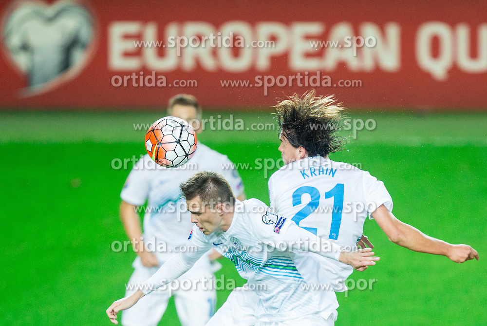 Josip Ilicic of Slovenia and Rene Krhin of Slovenia during the EURO 2016 Qualifier Group E match between Slovenia and Lithuania, on October 9, 2015 in SRC Stozice, Ljubljana Slovenia. Photo by Vid Ponikvar / Sportida