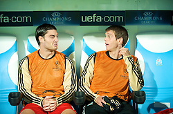 MARSEILLE, FRANCE - Tuesday, September 16, 2008: Liverpool's Albert Riera and Daniel Agger before the opening UEFA Champions League Group D match against Olympique de Marseille at the Stade Velodrome. (Photo by David Rawcliffe/Propaganda)