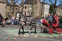 Queen Boudica arrives in her chariot as Pupils at Parkinson Lane School re-enact the  Iceni battle with  Roman Legions...© Martin Jenkinson, tel 0114 258 6808 mobile 07831 189363 email martin@pressphotos.co.uk. Copyright Designs & Patents Act 1988, moral rights asserted credit required. No part of this photo to be stored, reproduced, manipulated or transmitted to third parties by any means without prior written permission