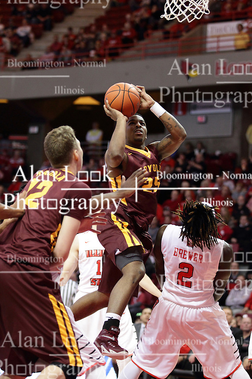 06 January 2016: Quintin Brewer (2) gets knocked out of the way and called for a block on a shot by Tyson Smith(25) during the Illinois State Redbirds v Loyola-Chicago Ramblers at Redbird Arena in Normal Illinois (Photo by Alan Look)
