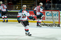 KELOWNA, CANADA - JANUARY 9:  Schael Higson #21 of the Kelowna Rockets warms up for his first game as a Rocket against the Everett Silvertips on January 9, 2019 at Prospera Place in Kelowna, British Columbia, Canada.  (Photo by Marissa Baecker/Shoot the Breeze)