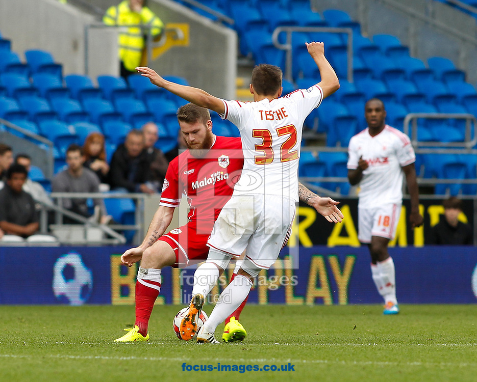 Aron Gunnarsson of Cardiff City and Robert Tesche of Nottingham Forest during the Sky Bet Championship match at the Cardiff City Stadium, Cardiff<br /> Picture by Mike  Griffiths/Focus Images Ltd +44 7766 223933<br /> 18/10/2014