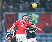 St Mirren&rsquo;s John Sutton outjumps Dundee&rsquo;s Tom Hateley - Dundee v St Mirren in the William Hill Scottish Cup at Dens Park, Dundee. Photo: David Young<br /> <br />  - &copy; David Young - www.davidyoungphoto.co.uk - email: davidyoungphoto@gmail.com