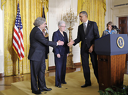 U.S. President Barack Obama (2nd R) shakes hands with MIT scientist Ernest Moniz (1st L), Gina McCarthy (2nd L) and Sylvia Mathews Burwell during a nomination ceremony in the East Room of the White House in Washington D.C., capital of the United States, March 4, 2013. Obama announced Monday that he picked Ernest Moniz to be his next energy secretary and Gina McCarthy to lead the Environmental Protection Agency, US, March 4, 2013. Photo by Imago / i-Images...UK ONLY