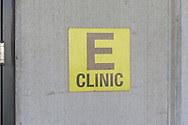 A sign announcing the clinic is seen during a tour through the newest prison in Pennsylvania Friday, September 01, 2017 at State Correction Institution Phoenix in Skippack, Pennsylvania. The facility is inching closer to opening, two years late, to replace Graterford Prison at a cost of $400 million. (Photo by William Thomas Cain/CAIN IMAGES)