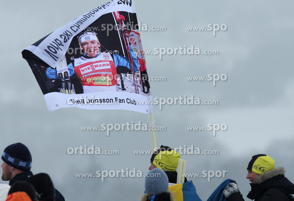 Fans of Emil Jonsson at men`s Sprint Qualifications Cross-country race at  FIS Nordic World Ski Championships Liberec 2008, on February 24, 2009, Vestec, Liberec, Czech Republic. (Photo by Vid Ponikvar / Sportida)