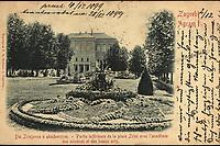 Zagreb : Dio Zrinjevca s akademijom = Agram : Partie inférieure de la place Zrini avec l'académie des sciences et des beaux arts. <br /> <br /> ImpresumZagreb : Papirnica F. X. Hribara, [1899].<br /> Materijalni opis1 razglednica : tisak ; 9 x 14 cm.<br /> NakladnikPapirnica F. X. Hribar<br /> Mjesto izdavanjaZagreb<br /> Vrstavizualna građa • razglednice<br /> ZbirkaZbirka razglednica • Grafička zbirka NSK<br /> Formatimage/jpeg<br /> PredmetZagreb –– Trg Nikole Šubića Zrinskog<br /> SignaturaRZG-ZRIN-1<br /> Obuhvat(vremenski)19. stoljeće<br /> NapomenaRazglednica je putovala 1899. godine. • Poleđina razglednice namijenjena je samo za adresu.<br /> PravaJavno dobro<br /> Identifikatori000953205<br /> NBN.HRNBN: urn:nbn:hr:238:089485 <br /> <br /> Izvor: Digitalne zbirke Nacionalne i sveučilišne knjižnice u Zagrebu
