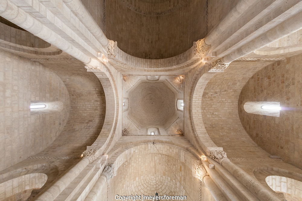 looking up at the trancept ceiling in the church of San Martín de Tours de Frómista in Frómista, built in the 11th century in Romanesque style. It is located on the Way of St. James to Santiago de Compostella