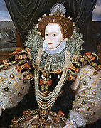 Elizabeth I (1533-1603) Queen of England and Ireland from 1558, last Tudor monarch. Version of the Armarda portrait attributed to George Gower c1588.
