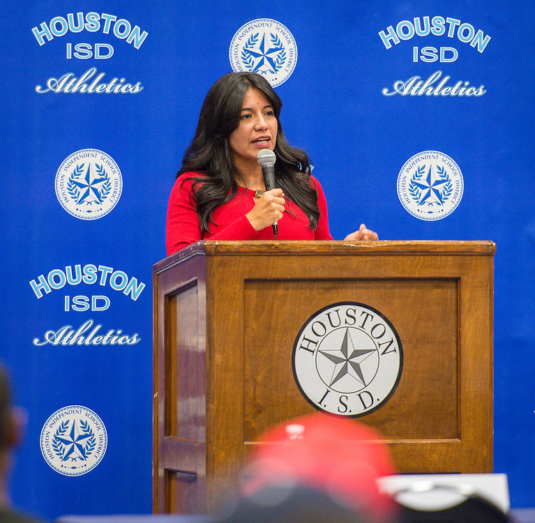 Houston ISD Trustee Diana Davila comments during National Signing Day ceremonies for student athletes at the Pavilion at Forest Brook Middle School, February 3, 2016.