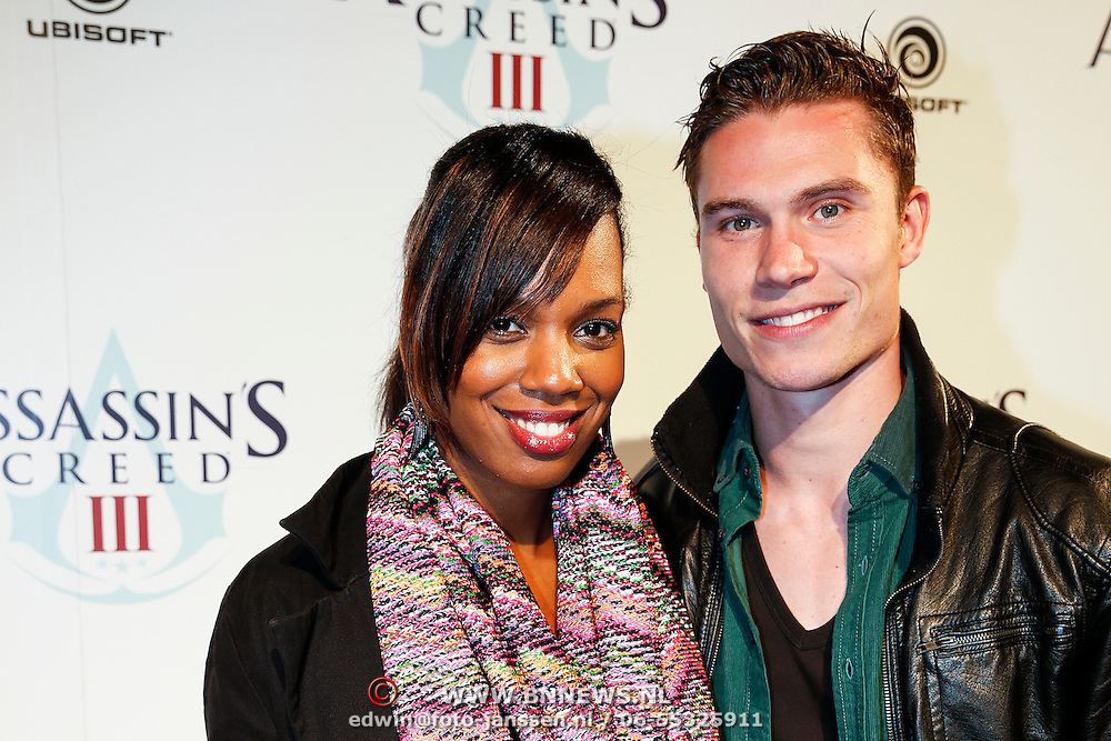 NLD/Amsteram/20121025- Lancering Assassin's Creed game, Jasmine Sendar en partner Derk Boerrichter