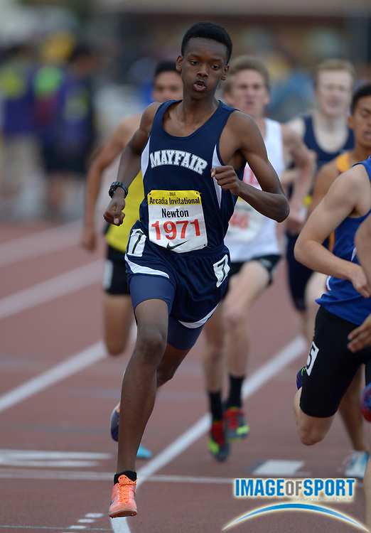 Apr 12, 2014; Arcadia, CA, USA; Ellis Newton of Mayfair places second in the mile in 4:12.67 in the 47th Arcadia Invitational at Arcadia High.