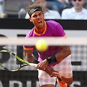 Roma 19/05/2017 Centrale del Foro Italico <br /> Internazionali BNL d'Italia<br /> Quarti di finale maschile <br /> Rafael Nadal vs Dominic Thiem <br /> <br /> Rafa Nadal batte un servizio
