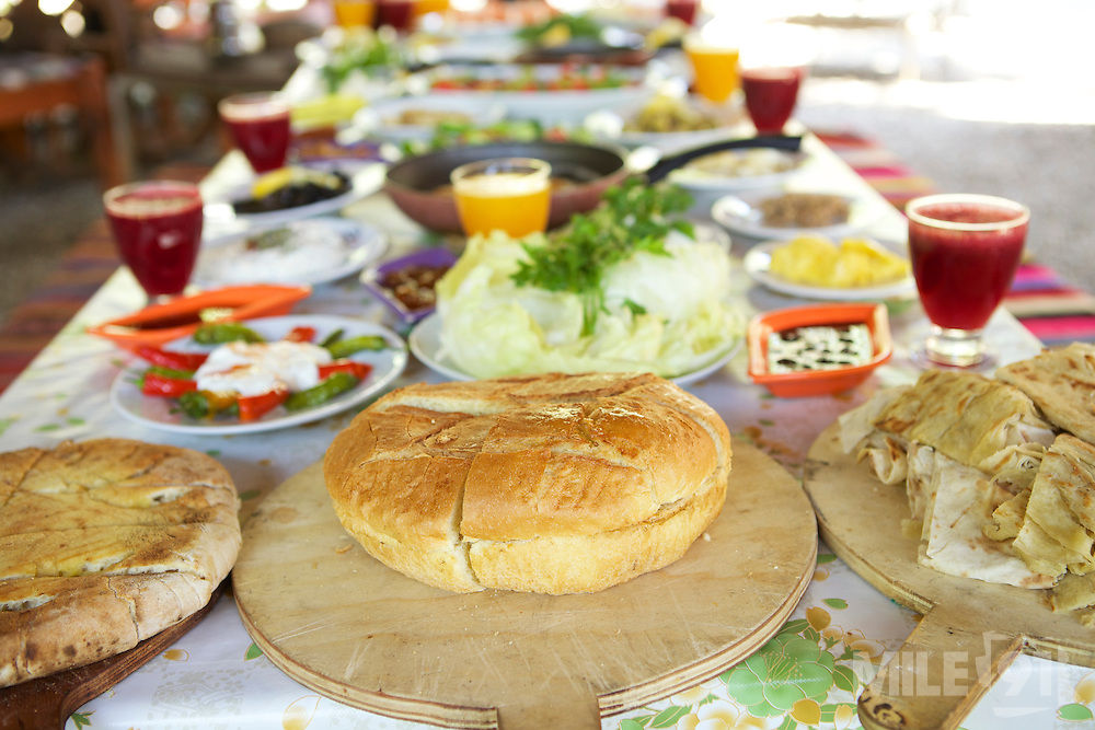A table laid with freshly prepared food for breakfast, Turkey