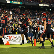 24 November 2018: San Diego State Aztecs fullback Isaac Lessard (34) scores the game tying touchdown on a 13 yard pass in the fourth quarter with six minutes left in the game. The Aztecs closed out the season with a 31-30 overtime loss to Hawaii at SDCCU Stadium.