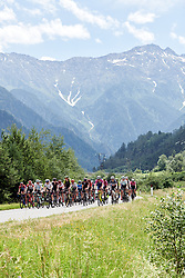 The peloton across the valley floor on Stage 5 of 2019 Giro Rosa Iccrea, a 88.8 km road race from Ponte in Valtellina to Lago di Cancano, Italy on July 9, 2019. Photo by Sean Robinson/velofocus.com