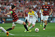 01.01.2014 Sydney, Australia. Wellingtons midfielder Jason Hicks in action during the Hyundai A League game between Western Sydney Wanderers FC and Wellington Phoenix FC from the Pirtek Stadium, Parramatta. Wellington won 3-1.
