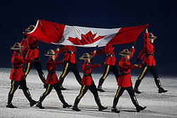 Olympic Winter Games Vancouver 2010 - Olympische Winter Spiele Vancouver 2010, Opening Ceremony in the BC Place Stadium, Mounties with canadian flag, Flagge, Fahne, *Photo by Malte Christians / HOCH ZWEI / SPORTIDA.com.