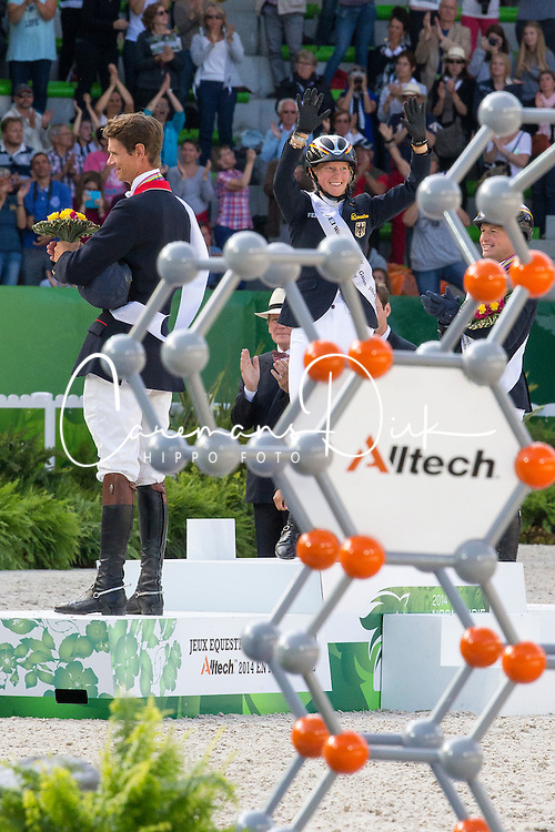Podium Individual Eventing 1. Sandra Auffarth and Opgun Louvo, 2. Michael Jung and Fischerrocana FST, 3. William Fox Pitt and Chilli Morning - Alltech FEI World Equestrian Games™ 2014 - Normandy, France.<br /> © Hippo Foto Team - Leanjo De Koster<br /> 31-08-14