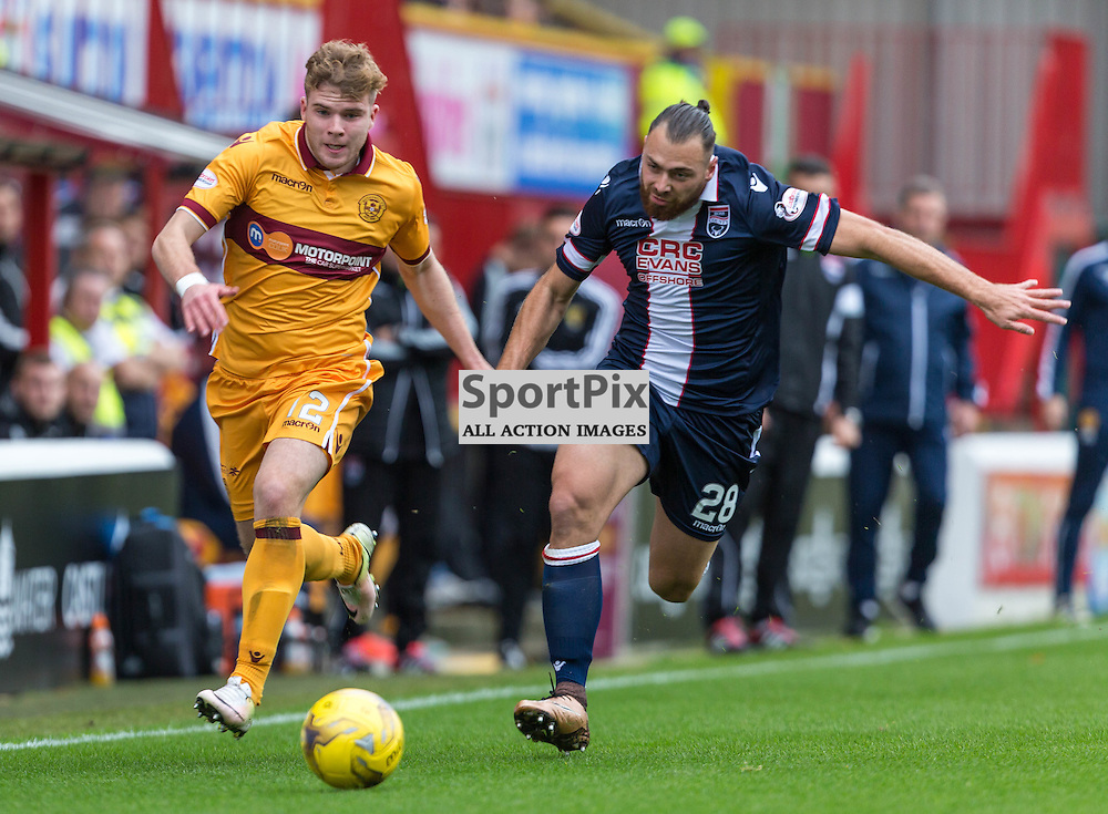 Chris Cadden and Kenny Van der Weg in action during the match between Motherwell and Ross County (c) ROSS EAGLESHAM | Sportpix.co.uk