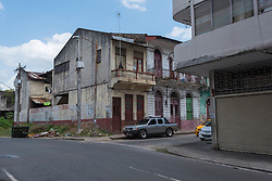 Colone, Panama--April 19, 2018--A run down street corner in Colone, Panama. Editorial use only.