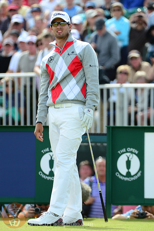 July 21, 2012; St. Annes, ENGLAND; Adam Scott watches his tee shot on the 5th hole during the third round of the 2012 British Open Championship at Royal Lytham & St. Annes Golf Club.