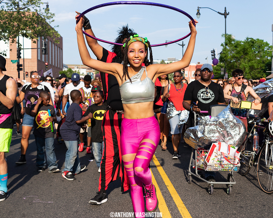 Participants of Funk Parade 2018 heads down U St. in Washington, DC on Saturday, May 12. 2018.