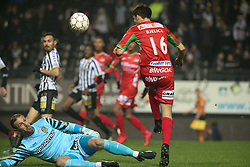 December 1, 2017 - Charleroi, BELGIUM - Charleroi's goalkeeper Nicolas Penneteau and Oostende's Aleksandar Bjelica fight for the ball during the Jupiler Pro League match between Sporting Charleroi and KV Oostende, in Charleroi, Friday 01 December 2017, on the day 17 of the Jupiler Pro League, the Belgian soccer championship season 2017-2018. BELGA PHOTO VIRGINIE LEFOUR (Credit Image: © Virginie Lefour/Belga via ZUMA Press)