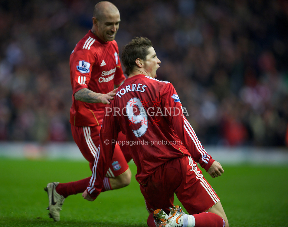 LIVERPOOL, ENGLAND - Sunday, November 7, 2010: Liverpool's Fernando Torres celebrates scoring his second goal against Chelsea during the Premiership match at Anfield. (Photo by David Rawcliffe/Propaganda)