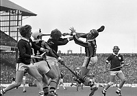 975-199<br /> Eddie Keher sets up a Kilkenny attack during the All-Ireland hurling final against Galway at Croke Park.<br /> (Part of the Independent Newspapers Ireland/NLI collection.)