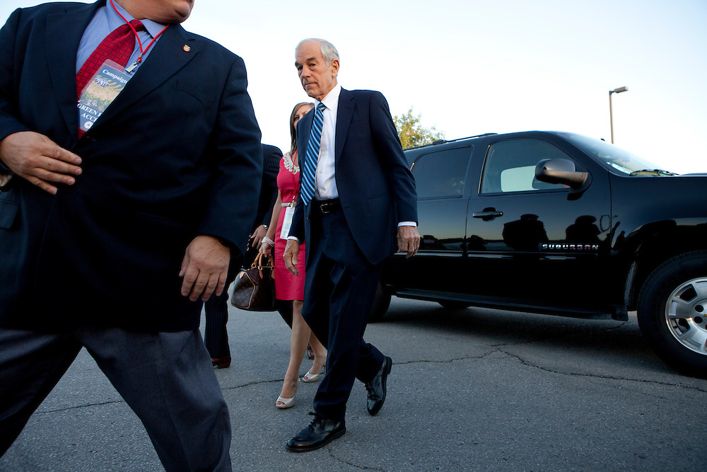 Republican presidential candidate Ron Paul arrives at the Republican presidential debate on Thursday, August 11, 2011 in Ames, IA.
