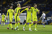 Chris Clements scores and celebrates for Cheltenham  during the EFL Sky Bet League 2 match between Bury and Cheltenham Town at the JD Stadium, Bury, England on 27 November 2018.