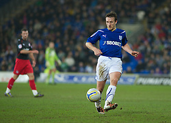 CARDIFF, WALES - Tuesday, February 1, 2011: Cardiff City's Lee Naylor during the Football League Championship match at the Cardiff City Stadium. (Photo by Gareth Davies/Propaganda)