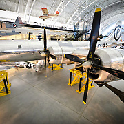 The Enola Gay on display at the Smithsonian's Air and Space Museum's Udvar-Hazy Center at Chantilly, Virginia. on display at the Smithsonian National Air and Space Museum's Udvar-Hazy Center, a large hangar facility at Chantilly, Virginia, next to Dulles Airport and just outside Washington DC. The Enola Gay is a B-29 bomber that dropped the atomic bomb on Hiroshima at the end of World War II.