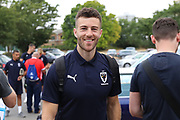 AFC Wimbledon defender Jon Meades (3) arriving during the Pre-Season Friendly match between AFC Wimbledon and Queens Park Rangers at the Cherry Red Records Stadium, Kingston, England on 14 July 2018. Picture by Matthew Redman.