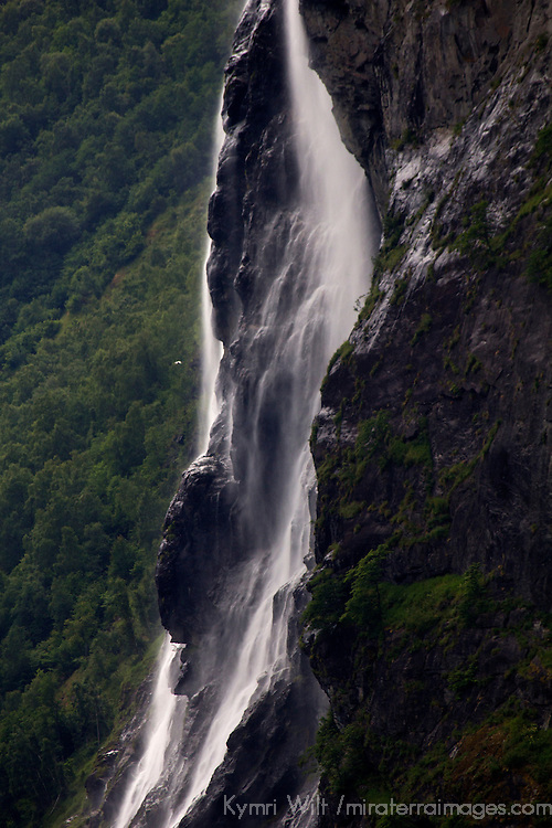 Europe, Norway, Geiranger.  Brudesløret, or the Bridal Veil Falls, Geiranger.
