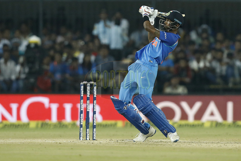 Hardik Pandya of India plays a shot during the 3rd One Day International between India and Australia held at the Holkar Stadium in Indore on the 24th  September 2017<br /> <br /> Photo by Arjun Singh / BCCI / SPORTZPICS