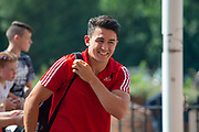 Luke O'Nien (#13) of Sunderland AFC is all smiles as he arrives for the EFL Sky Bet League 1 match between Sunderland and AFC Wimbledon at the Stadium Of Light, Sunderland, England on 24 August 2019.