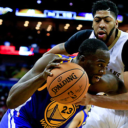 Oct 28, 2016; New Orleans, LA, USA;  Golden State Warriors forward Draymond Green (23) is fouled by New Orleans Pelicans forward Anthony Davis (23) as he drives to the basket during the second quarter of a game at the Smoothie King Center. Mandatory Credit: Derick E. Hingle-USA TODAY Sports