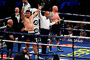 Dave Allen is announced the winner of his fight against Dorian Darch before the Kell Brook vs Mark DeLuca WBO Inter-Continental Super Welterweight fight at the FlyDSA Arena, Sheffield, United Kingdom on 8 February 2020.
