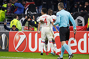 Tanguy Ndombele of Lyon and Rafael of Lyon during the UEFA Europa League, Round of 32, 1st leg football match between Olympique Lyonnais and Villarreal on February 15, 2018 at Groupama stadium at Decines-Charpieu near Lyon, France - Photo Romain Biard / Isports / ProSportsImages / DPPI
