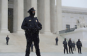 Police stand guard at the U.S. Supreme Court during the March for Life in Washington, DC on January 22, 2016. Activists from across the nation participated in the annual pro-life rally protesting abortion and the 1973 Roe v. Wade Supreme Court decision legalizing abortion.  Photo by Molly Riley/UPI