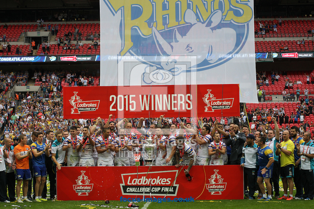 Leeds Rhinos 2015 Ladbrokes Challenge Cup Winners after beating  Hull Kingston Rovers 50-0 during the Ladbrokes Challenge Cup Final match at Wembley Stadium, London<br /> Picture by Stephen Gaunt/Focus Images Ltd +447904 833202<br /> 29/08/2015