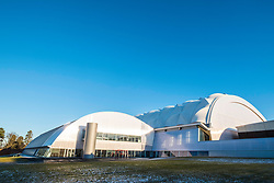 Exterior view of Oriam National Sports Centre at Heriot-Watt University in Edinburgh, Scotland, United Kingdom