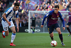 March 30, 2019 - Barcelona, Catalonia, Spain - Philippe Coutinho and Pedrosa during the match between FC Barcelona and RCD Espanyol, corresponding to the week 29 of the Liga Santander, played at the Camp Nou Stadium, on 30th March 2019, in Barcelona, Spain. (Credit Image: © Joan Valls/NurPhoto via ZUMA Press)