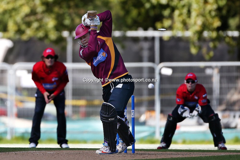Scott Kuggeleijn of the Knights bowled during the Ford Trophy cricket match between the Canterbury Wizards v Northern Knights at Hagley Oval, Christchurch. 26 March 2014 Photo: Joseph Johnson/www.photosport.co.nz