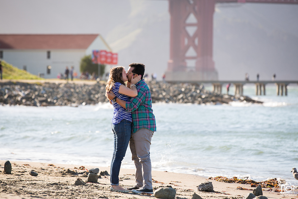 Robert Hernandez proposes to Kristin Roberson at Crissy Field in San Francisco, California, on May 10, 2014. (Stan Olszewski/SOSKIphoto)