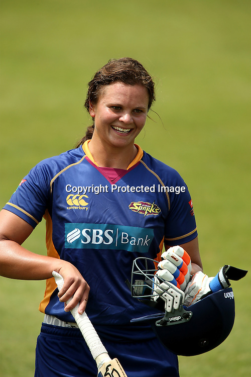Otago's Suzie Bates celebrates her innings of 160 not out. Women's One Day Cricket, Otago Sparks v Canterbury Magicians at Mainpower Oval. Rangiora on Saturday 1 December 2012. Photo: Martin Hunter/Photosport.co.nz