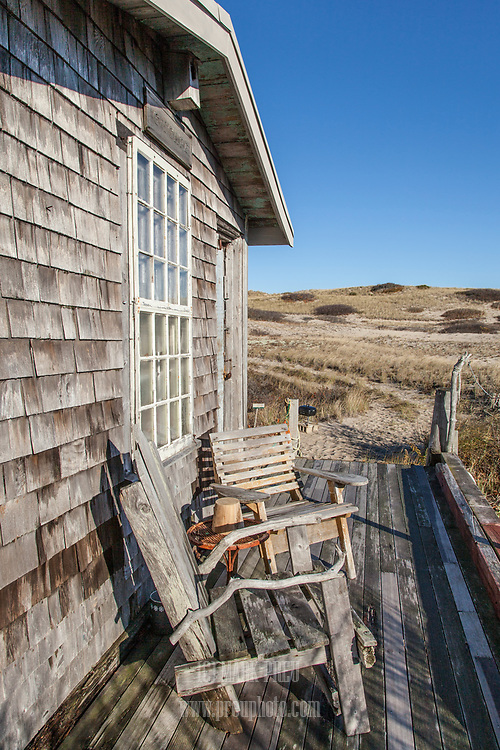 There is a nice deck on the east side of the C-Scape dune shack.